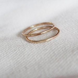 Thin Hammered Gold Filled Stacking Ring